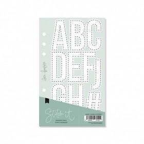 Plantilla costura alfabeto contorno