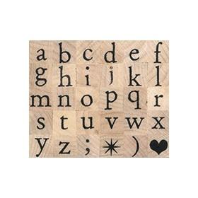 Sello madera alfabeto pequeño minúscula