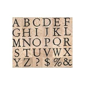 Sello madera alfabeto pequeño mayúscula