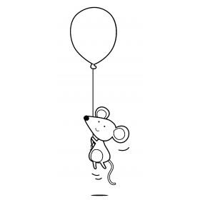 Sello madera ratón globo