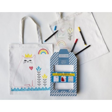 "Kit Stencil + Tote bag "" Cat"""