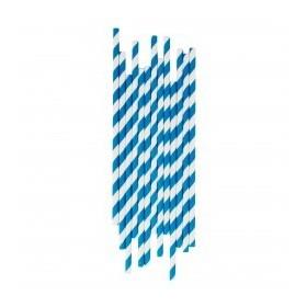 Pajitas de papel azul