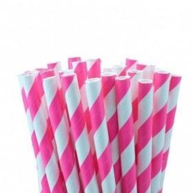 Pajitas de papel rosa