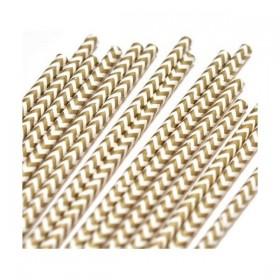 Pajitas de papel chevron dorado