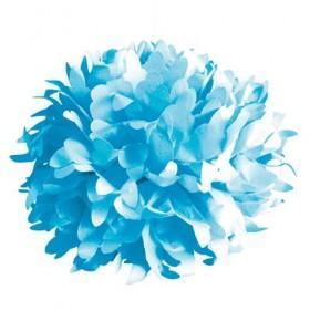 Pompón de seda azul