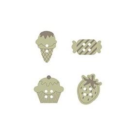 Botones de madera con formas