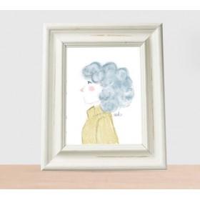 Minimal girl pelo rizado azul