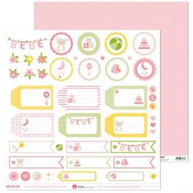 Hoja Etiquetas Bebé Rosa