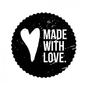 Sello madera redondo Made with love